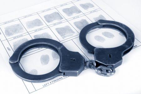 Handcuff and fingerprint